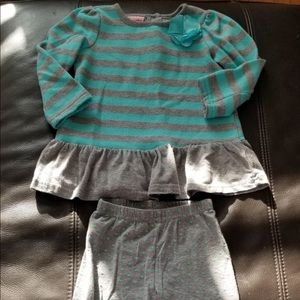 Nannette blue and grey polka stripe Outfit 24M